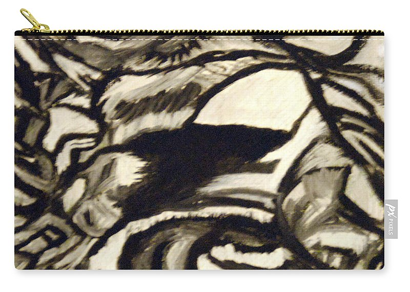 Black And White Carry-all Pouch featuring the painting Secret Cave by Suzanne Surber