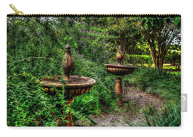 Secret Garden Birdbath Carry-all Pouch featuring the photograph Secret Garden Birdbath by David Morefield
