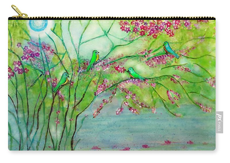 Romantic Place Carry-all Pouch featuring the painting Secret Paradise Inner Bliss by Anjali Vaidya