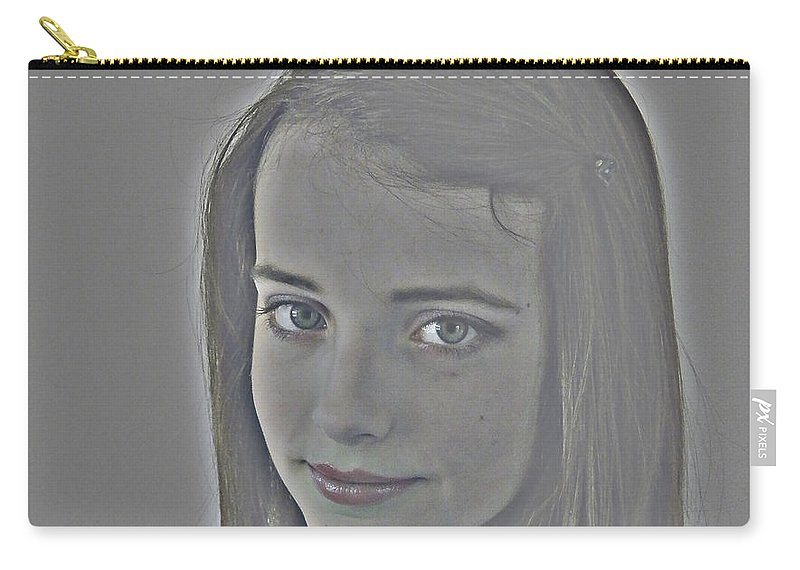 Face Carry-all Pouch featuring the digital art Secretive by Mair Hunt