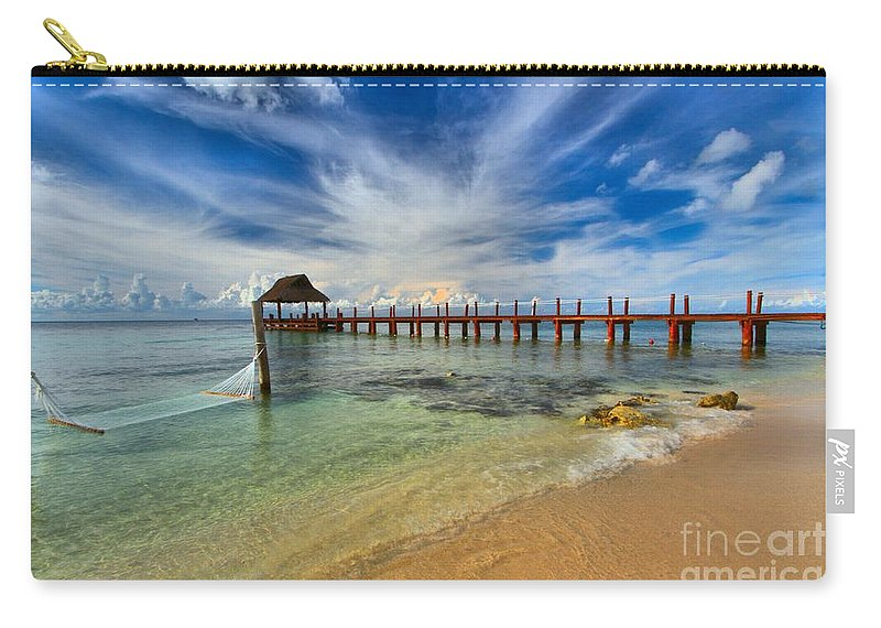 Caribbean Ocean Carry-all Pouch featuring the photograph Secrets Aura Pier by Adam Jewell