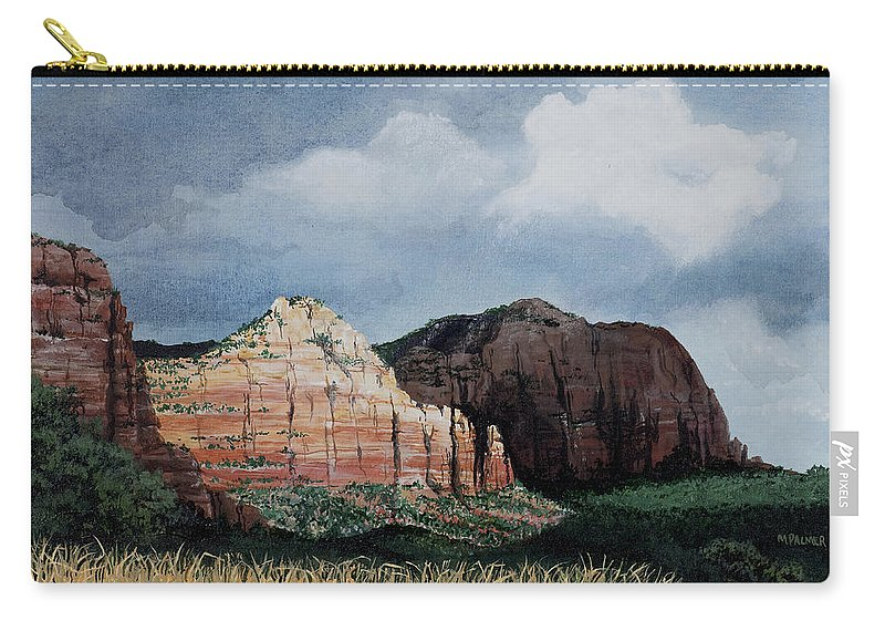Sedona Arizona Carry-all Pouch featuring the painting Sedona Storm by Mary Palmer