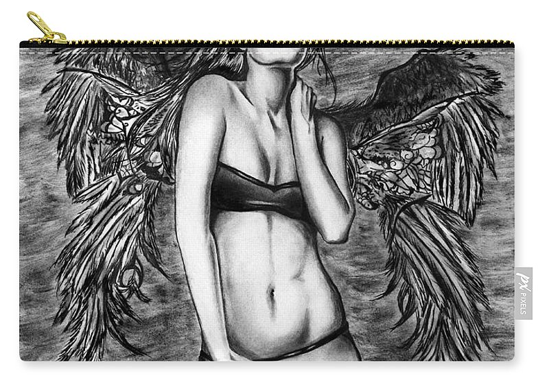 Seductive Angel Carry-all Pouch featuring the drawing Seductive Angel by Peter Piatt