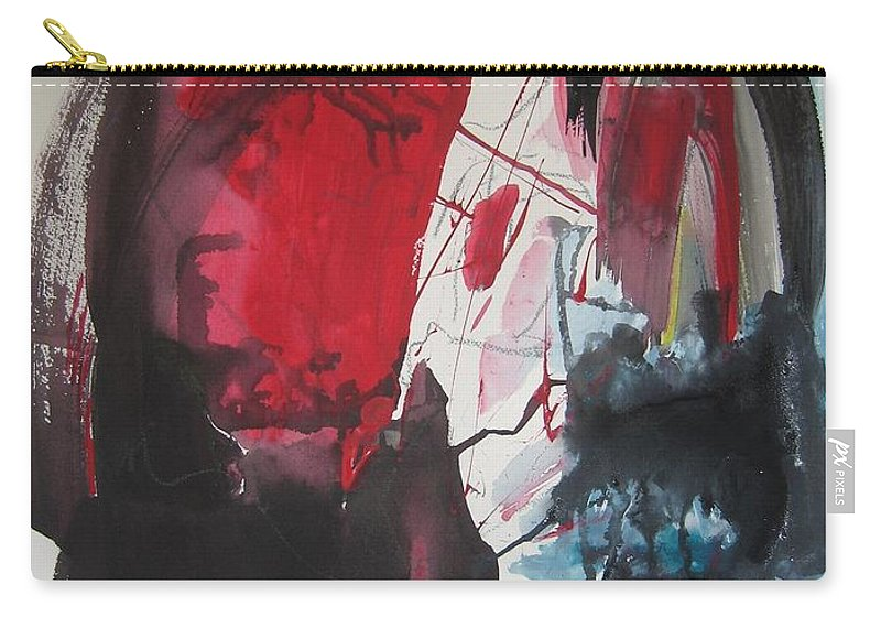 Red Paintings Carry-all Pouch featuring the painting Seem To Happen Suddenly Original Abstract Colorful Landscape Painting For Sale Red Blue Green by Seon-Jeong Kim