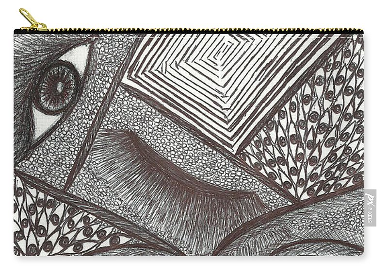 Carry-all Pouch featuring the drawing Seen by Cynthia Williams