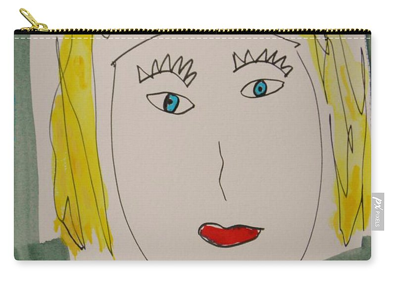 Girl Carry-all Pouch featuring the painting Self I See October 12 by Mary Carol Williams