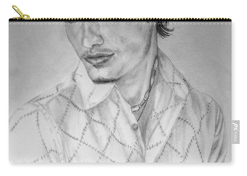 Portrait Carry-all Pouch featuring the drawing Self Portrait by Alban Dizdari