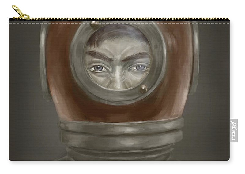 Digital Carry-all Pouch featuring the digital art Self Portrait by Balazs Solti