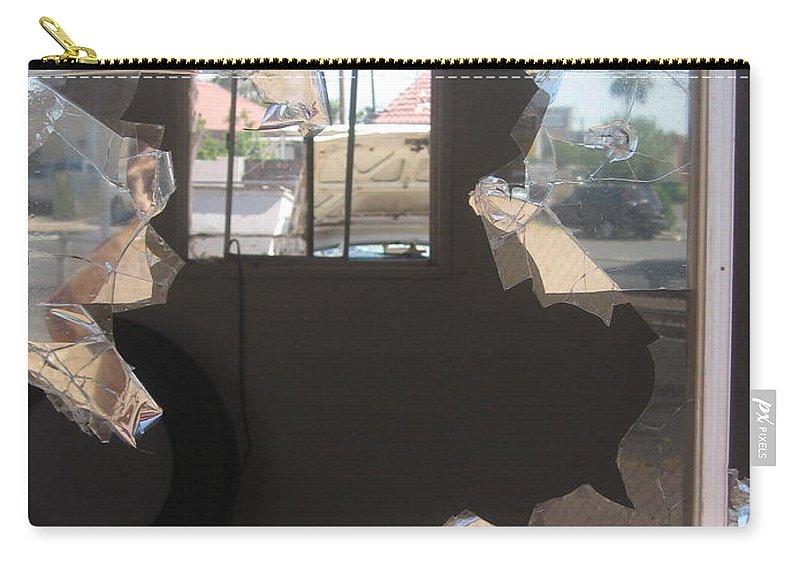 Self Portrait Peeling Window Casa Grande Arizona Carry-all Pouch featuring the photograph Self Portrait Peeling Window Casa Grande Arizona 2004 by David Lee Guss