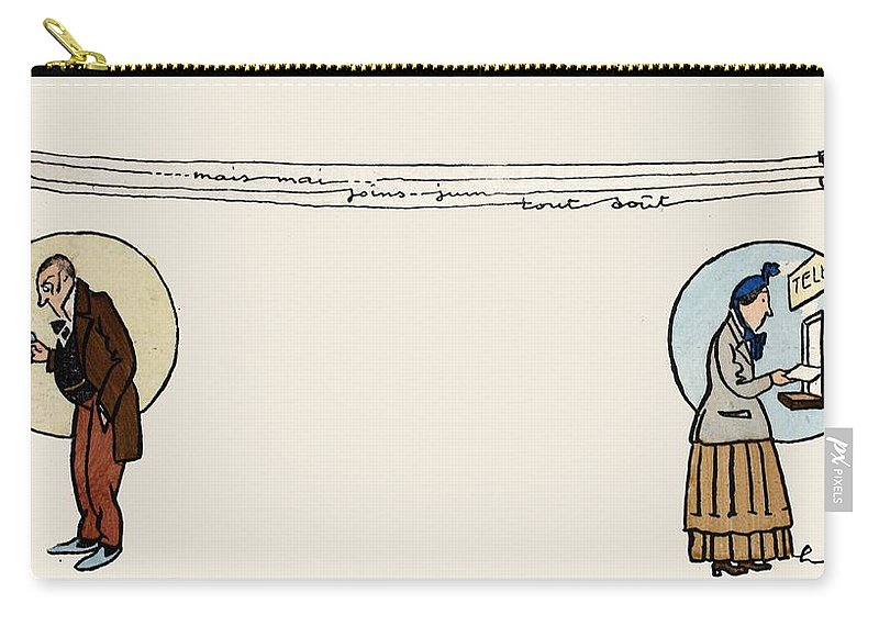 Carry-all Pouch featuring the painting Sending And Receiving A Telegram by French School