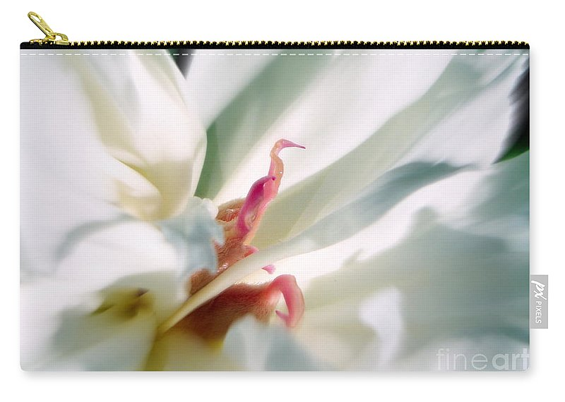 Peony Carry-all Pouch featuring the photograph Sentinel Enter The White Peony by Renee Croushore