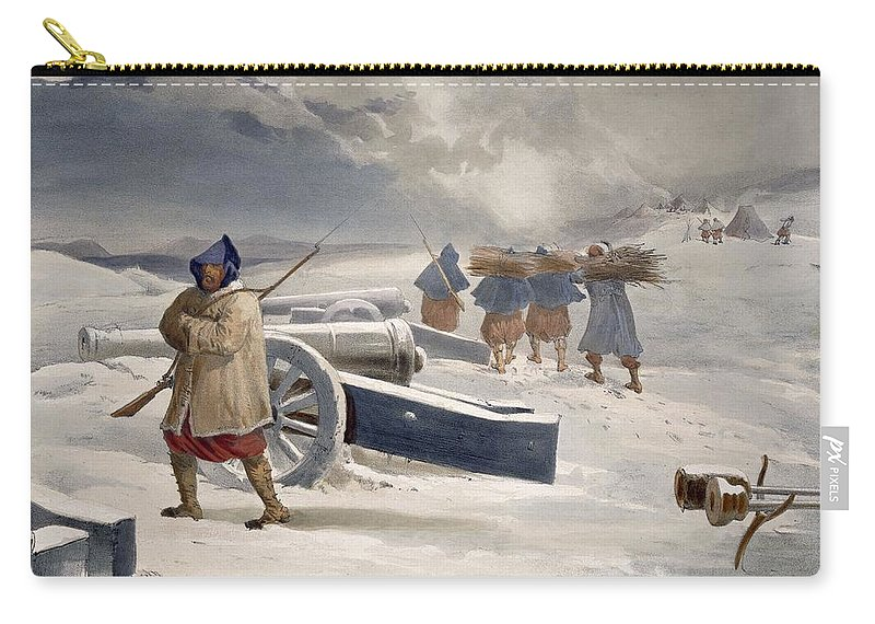 Zouave Carry-all Pouch featuring the drawing Sentinel Of The Zouaves, Plate From The by William 'Crimea' Simpson