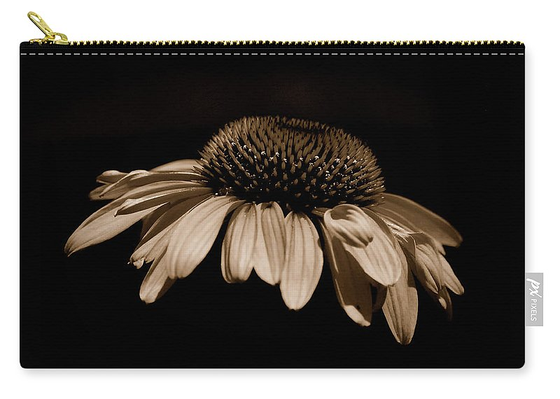 Daisy Carry-all Pouch featuring the photograph Sepia Daisy by Lori Tambakis