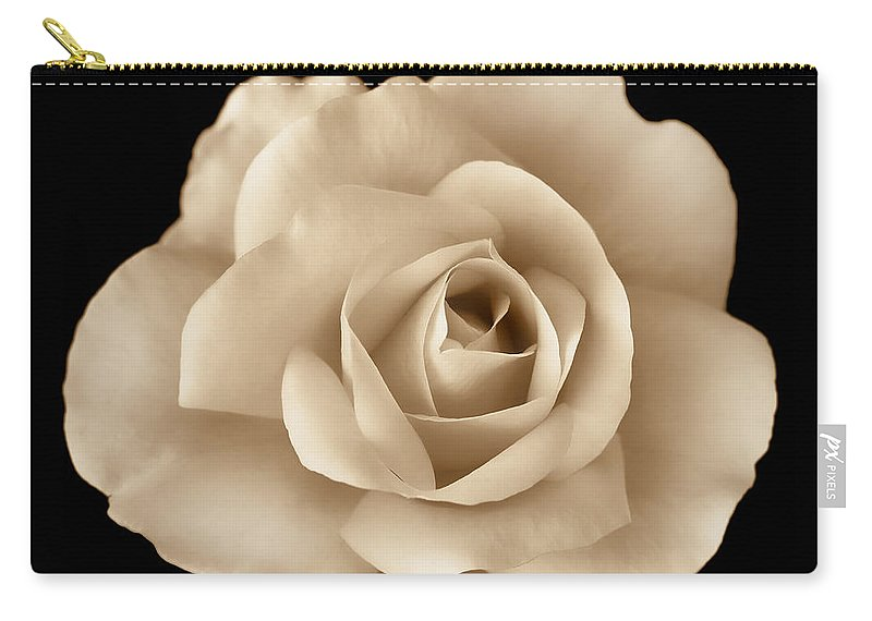 Rose Carry-all Pouch featuring the photograph Sepia Rose Flower Portrait by Jennie Marie Schell
