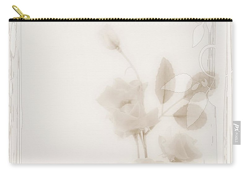Sympathy Carry-all Pouch featuring the photograph Sepia Roses With Sympathy Card by Sandra Foster