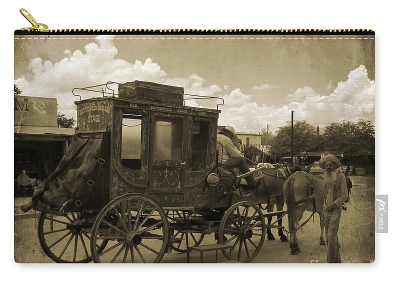 Sepia Stagecoach Carry-all Pouch featuring the photograph Sepia Stagecoach by John Malone