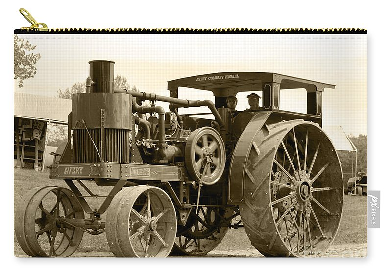 Sepia Tone Carry-all Pouch featuring the photograph Sepia Tractor by Debbie Hart
