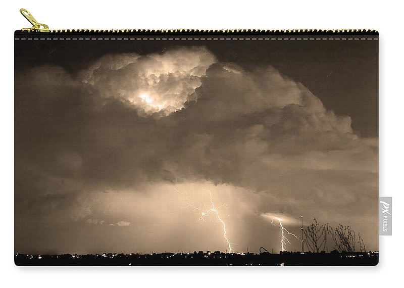 Lightning Carry-all Pouch featuring the photograph Sepiathunderstorm Boulder County Colorado  by James BO Insogna