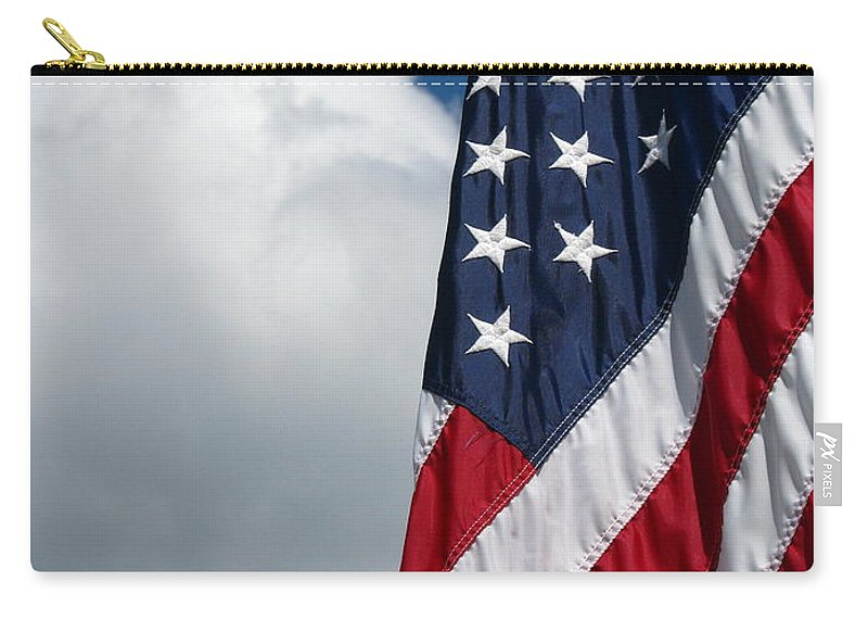 Art For The Wall...patzer Photography Carry-all Pouch featuring the photograph September Flag by Greg Patzer