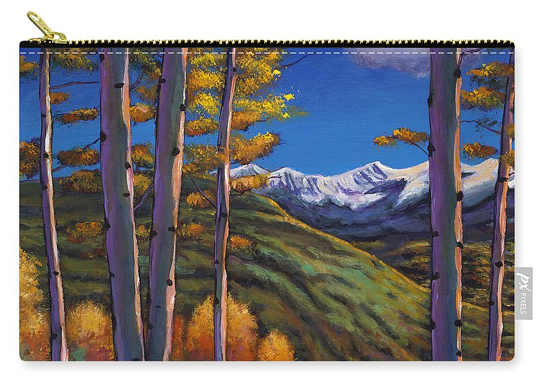 Autumn Aspen Carry-all Pouch featuring the painting Serenity by Johnathan Harris