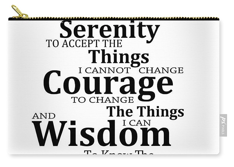 Serenity Prayer 6 - Simple Black And White Carry-all Pouch for Sale by  Sharon Cummings 8750feb1b96b9