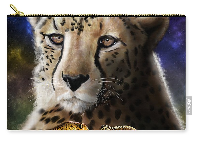 Cheetah Carry-all Pouch featuring the digital art First In The Big Cat Series - Cheetah by Thomas J Herring