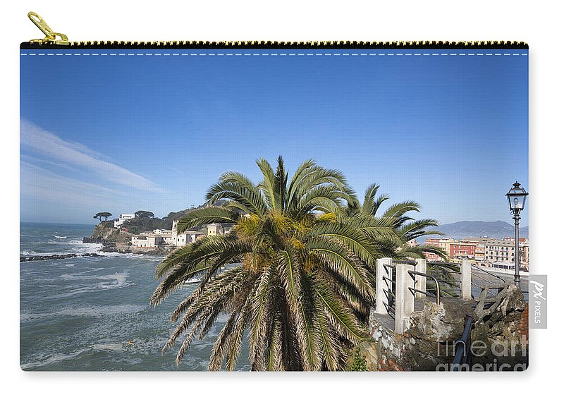 Village Carry-all Pouch featuring the photograph Sestri Levante And Palm Tree by Mats Silvan