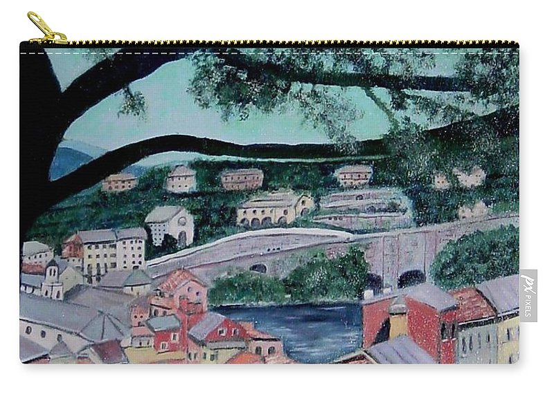 Italy Carry-all Pouch featuring the painting Sestri Levante by Laurie Morgan