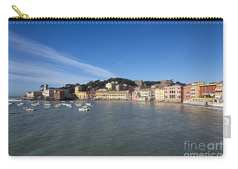 Village Carry-all Pouch featuring the photograph Sestri Levante With Blue Sky by Mats Silvan