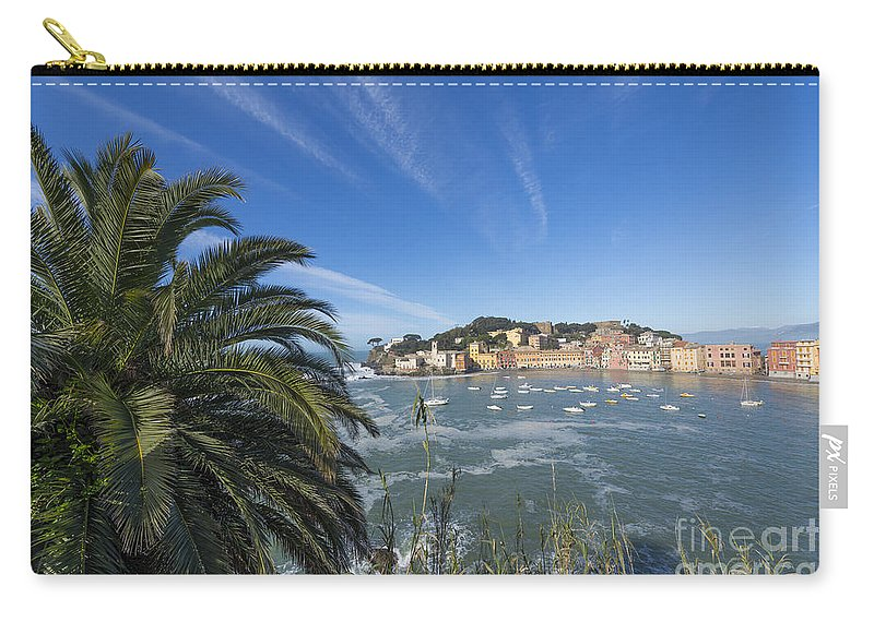 Village Carry-all Pouch featuring the photograph Sestri Levante With Palm Tree by Mats Silvan