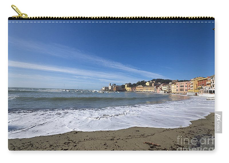Village Carry-all Pouch featuring the photograph Sestri Levante With Waves by Mats Silvan