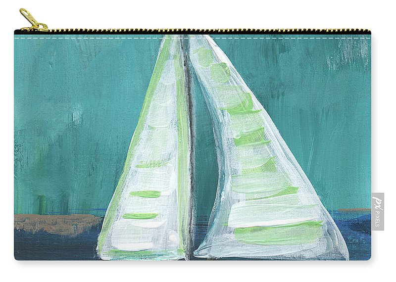 Boat Carry-all Pouch featuring the painting Set Free- Sailboat Painting by Linda Woods