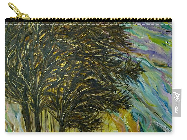 Whimsical Landscape Carry-all Pouch featuring the painting Set Me Free...again by Sara Credito