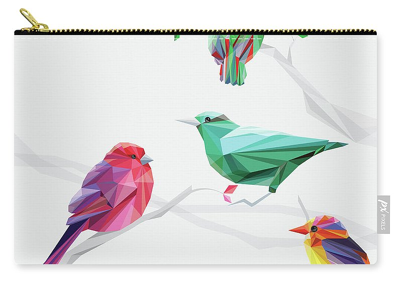 Funky Carry-all Pouch featuring the digital art Set Of Abstract Geometric Colorful Birds by Pika111