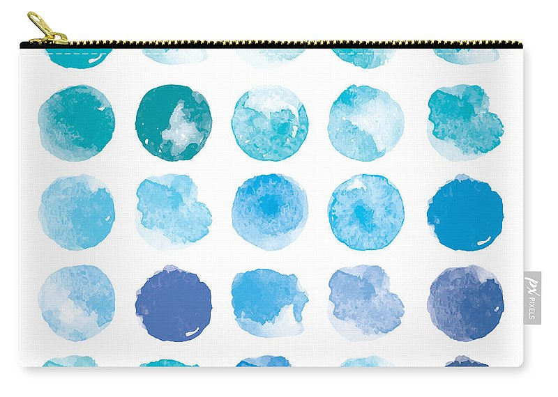Art Carry-all Pouch featuring the digital art Set Of Colorful Watercolor Hand Painted by Irinabogomolova