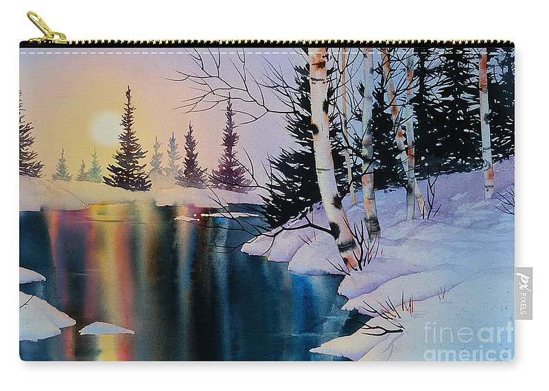 Setting Sun Carry-all Pouch featuring the painting Setting Sun by Teresa Ascone