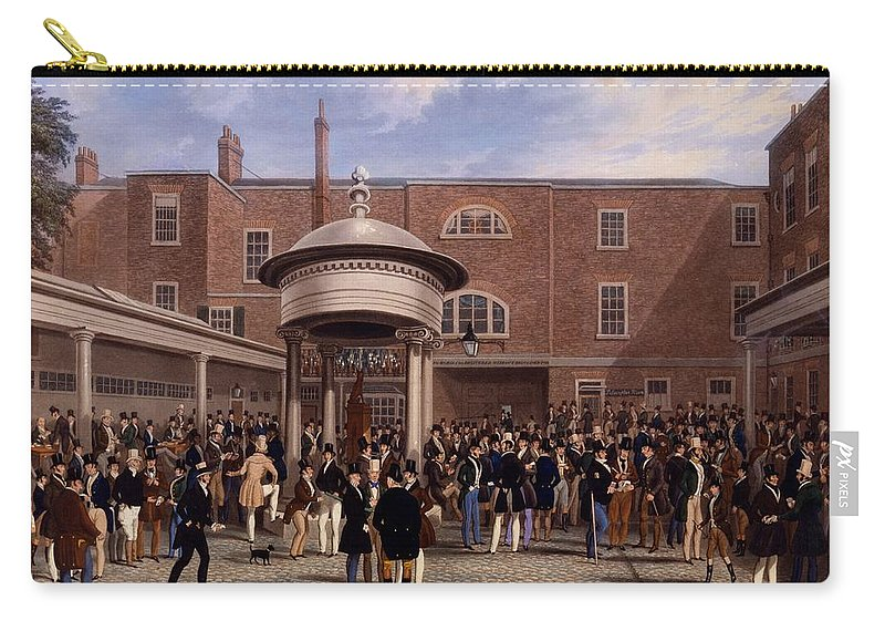 Tattersalls Carry-all Pouch featuring the drawing Settling Day At Tattersalls, Print Made by James Pollard