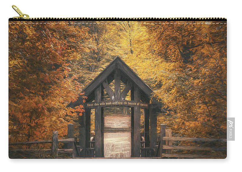 Forest Carry-all Pouch featuring the photograph Seven Bridges Trail Head by Scott Norris