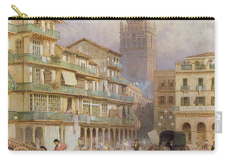 Street Scene Carry-all Pouch featuring the drawing Seville by Myles Birket Foster