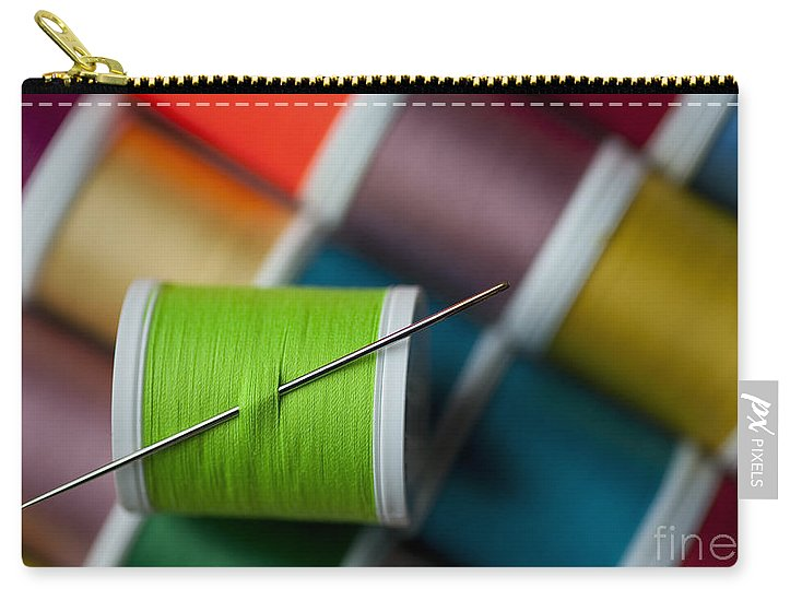 Abundance Carry-all Pouch featuring the photograph Sewing Needle With Bright Colored Spools by Jim Corwin