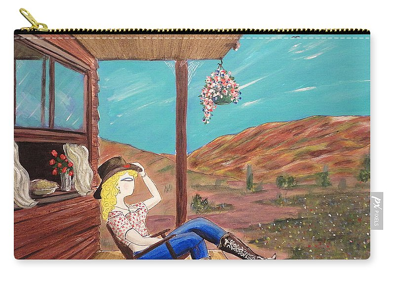 John Lyes Carry-all Pouch featuring the painting Sexy Cowgirl Sitting On A Chair At High Noon by John Lyes