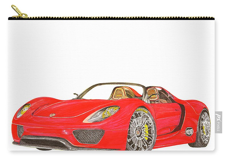 Some Like The Car Without A Background Carry-all Pouch featuring the painting Sexy Spyder Porsche 918 by Jack Pumphrey