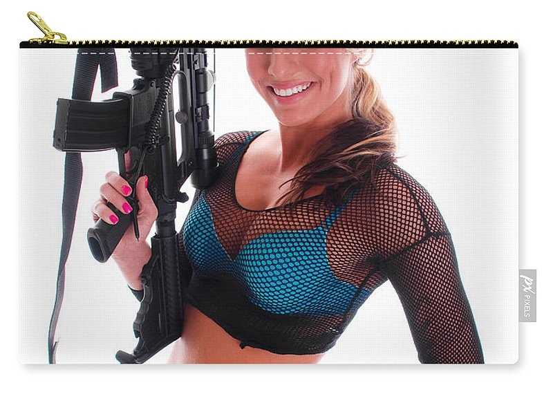 Gun Carry-all Pouch featuring the photograph Sexy Woman Holding An Ar15 by Jt PhotoDesign