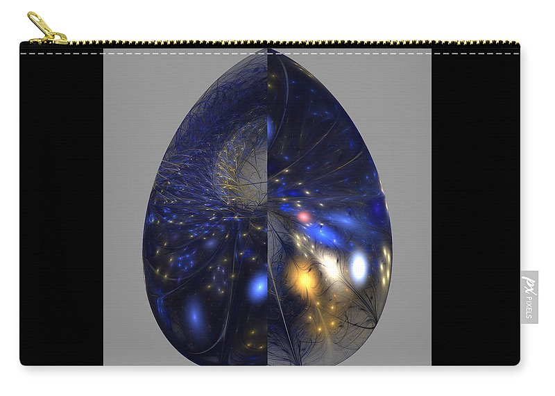 Fractal Carry-all Pouch featuring the digital art Shades Of Midnight by Anne Pearson