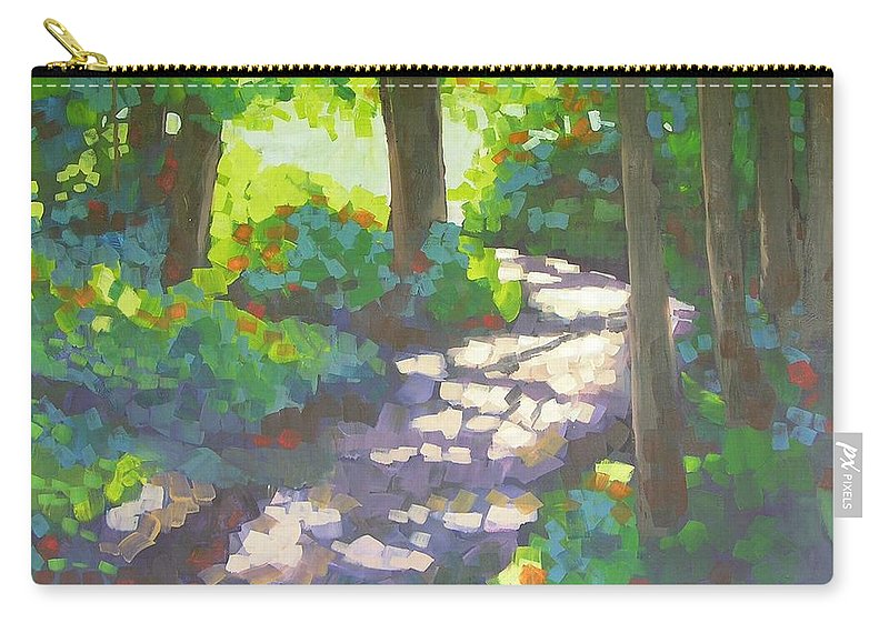 Landscape Carry-all Pouch featuring the painting Shadowed Path by Mary McInnis