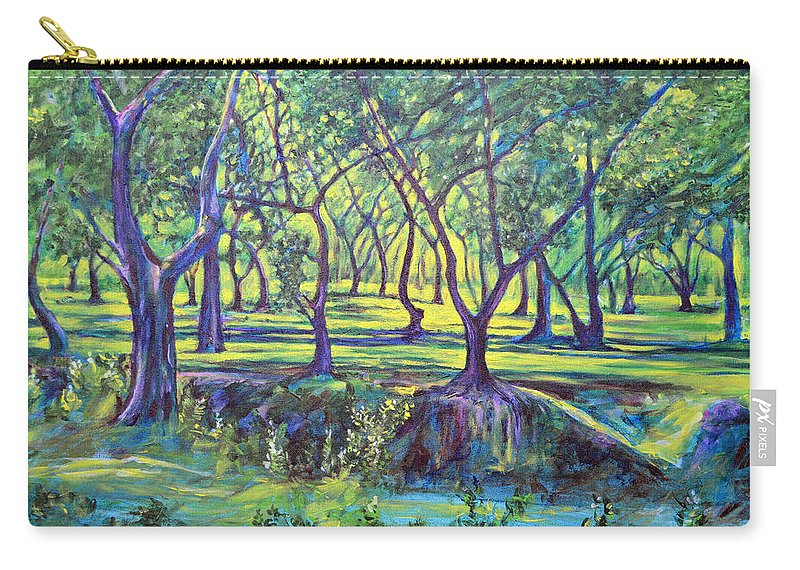Landscape Carry-all Pouch featuring the painting Shadows At Noon - Indian Landscapes by Usha Shantharam