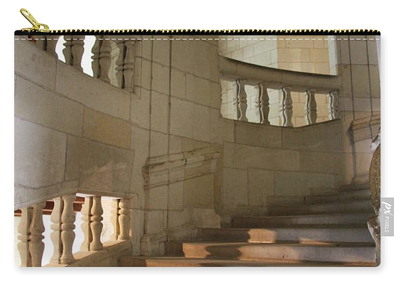 Staircase Carry-all Pouch featuring the photograph Shadows On Chateau Chambord Stairs by Christiane Schulze Art And Photography