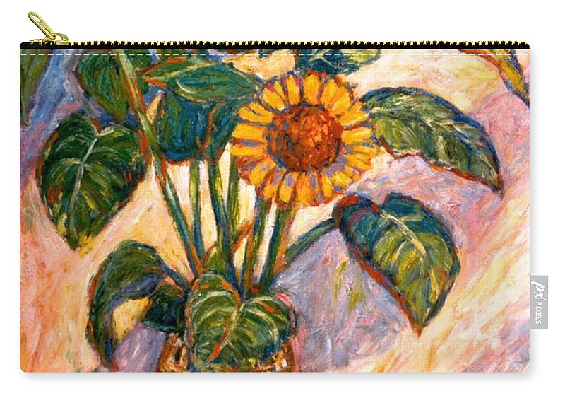 Floral Carry-all Pouch featuring the painting Shadows On Sunflowers by Kendall Kessler