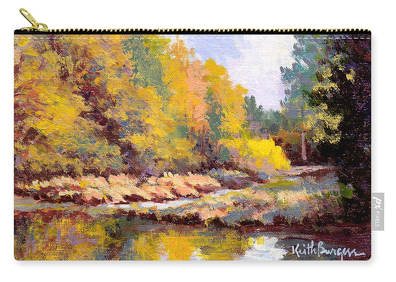 Impressionism Carry-all Pouch featuring the painting Shadowy Creek by Keith Burgess