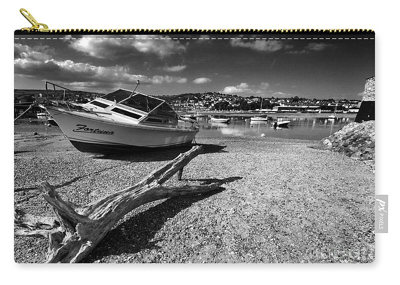Shaldon Carry-all Pouch featuring the photograph Shaldon Beach In Mono by Rob Hawkins